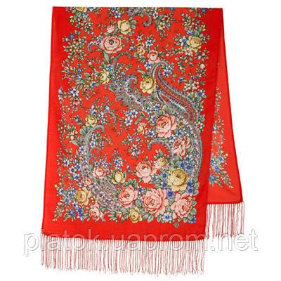 Квітковий роман 1747-5, павлопосадский вовняний шарф з шовковою бахромою