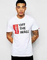 Мужская футболка Ванс Белая, футболка Vans Белая, Турецкое качество; Код-0749495