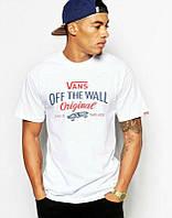 Брендовая футболка VANS, ванс, белая, летняя, в наличии, стильная, хб, КП1991