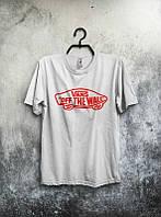 Брендовая футболка VANS, ванс, белая, летняя, красное лого, стильная, хб, КП1993