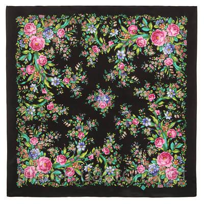 Цветочное настроение 1732-18, павлопосадский платок (крепдешин) шелковый с подрубкой