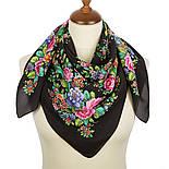 Цветочное настроение 1732-18, павлопосадский платок (крепдешин) шелковый с подрубкой, фото 2