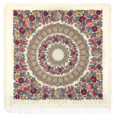 Молитва 353-0, павлопосадский платок шерстяной  с шерстяной бахромой   Первый сорт