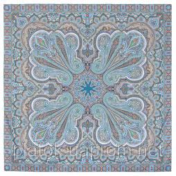 Восточное путешествие 1566-14, павлопосадский платок (шаль) хлопковый (саржа) с подрубкой