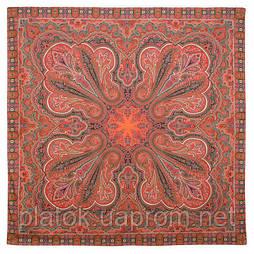 Восточное путешествие 1566-5, павлопосадский платок (шаль) хлопковый (саржа) с подрубкой