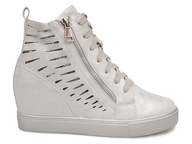Модные ботинки сникерсы ботинки на танкетке