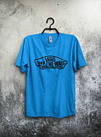 Мужская футболка Ванс Бирюзовая, футболка Vans Бирюзовая, Турецкое качество; Код-0749500