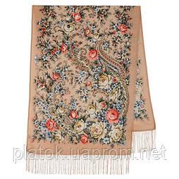Квітковий роман 1747-16, павлопосадский вовняний шарф з шовковою бахромою