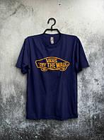 Мужская футболка Ванс темно синяя, футболка Vans темно синяя, Турецкое качество; Код-0749501