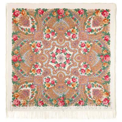 Волшебная сила любви 1723-0, павлопосадский платок шерстяной  с шелковой бахромой