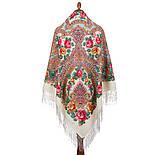 Волшебная сила любви 1723-0, павлопосадский платок шерстяной  с шелковой бахромой, фото 2