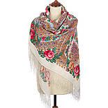Волшебная сила любви 1723-0, павлопосадский платок шерстяной  с шелковой бахромой, фото 3