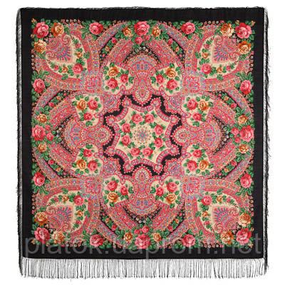 Волшебная сила любви 1723-18, павлопосадский платок шерстяной  с шелковой бахромой