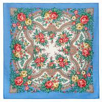 Всплески радости 1756-13, павлопосадский платок шерстяной  с осыпкой (оверлоком), фото 1