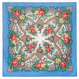 Всплески радости 1756-13, павлопосадский платок шерстяной  с осыпкой (оверлоком)