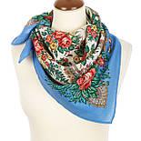 Всплески радости 1756-13, павлопосадский платок шерстяной  с осыпкой (оверлоком), фото 2