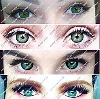 Зелёные линзы на светлых глазах