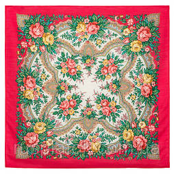 Всплески радости 1756-5, павлопосадский платок шерстяной  с осыпкой (оверлоком)