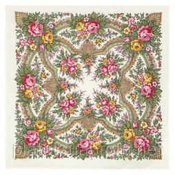 Всплески радости 1756-0, павлопосадский платок шерстяной  с осыпкой (оверлоком)
