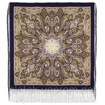 Единственная 1757-15, павлопосадский платок (шаль) из уплотненной шерсти с шелковой вязанной бахромой