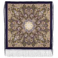 Единственная 1757-15, павлопосадский платок (шаль) из уплотненной шерсти с шелковой вязанной бахромой, фото 1
