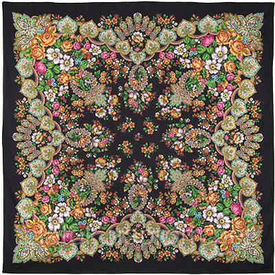 Голубка 679-18, павлопосадский платок (шаль) хлопковый (саржа) с подрубкой