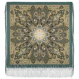 Єдина 1757-12, павлопосадский хустку (шаль) з ущільненої вовни з шовковою бахромою в'язаної