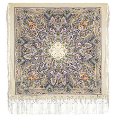 Единственная 1757-2, павлопосадский платок (шаль) из уплотненной шерсти с шелковой вязаной бахромой