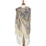 Единственная 1757-2, павлопосадский платок (шаль) из уплотненной шерсти с шелковой вязаной бахромой, фото 2