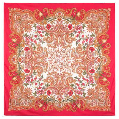 Лидия 1758-5, павлопосадский платок (шаль) хлопковый (саржа) с подрубкой