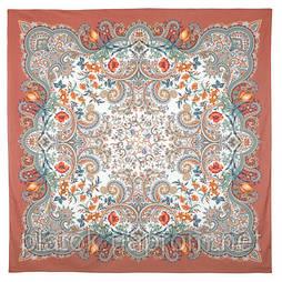 Лидия 1758-16, павлопосадский платок (шаль) хлопковый (саржа) с подрубкой