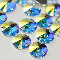 Пришивные камни Сваровски, арт3200, цвет Crystal AB, 12мм, 1шт