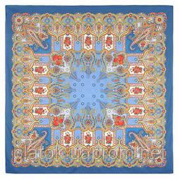 Нежное облако 1232-14, павлопосадский платок (шаль) хлопковый (саржа) с подрубкой