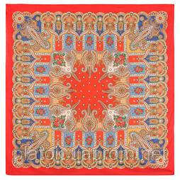 Нежное облако 1232-5, павлопосадский платок (шаль) хлопковый (саржа) с подрубкой