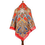 Нежное облако 1232-5, павлопосадский платок (шаль) хлопковый (саржа) с подрубкой, фото 2