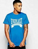 Брендовая футболка EVERLAST, брендовая футболка еверласт, голубая, большое лого, КП2090