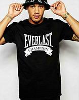 Брендовая футболка EVERLAST, брендовая футболка еверласт, черная, большое лого, КП2091