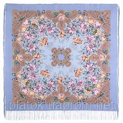 Ноктюрн 1736-13, павлопосадский хустку (шаль, крепдешин) шовковий з шовковою бахромою
