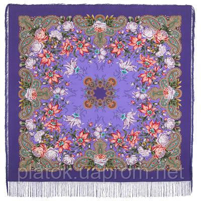 Ноктюрн 1736-15, павлопосадский платок (шаль, крепдешин) шелковый с шелковой бахромой