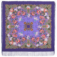 Ноктюрн 1736-15, павлопосадский платок (шаль, крепдешин) шелковый с шелковой бахромой, фото 1