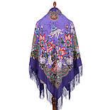 Ноктюрн 1736-15, павлопосадский платок (шаль, крепдешин) шелковый с шелковой бахромой, фото 2