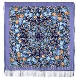 Утомленноё солнце 511-15, павлопосадский платок шерстяной с шелковой бахромой