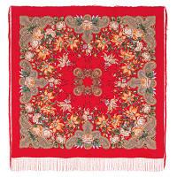 Ноктюрн 1736-5, павлопосадский платок (шаль, крепдешин) шелковый с шелковой бахромой