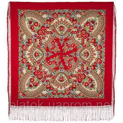 Подкова 377-5, павлопосадский платок (шаль) из уплотненной шерсти с шелковой вязанной бахромой
