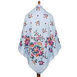 Цветочное ожерелье 932-1, павлопосадский платок (шаль) хлопковый (саржа) с подрубкой, фото 2