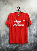 Брендовая футболка MIZUNO, брендовая футболка мизуно, красная, хлопок, КП2120