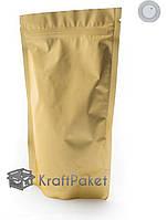 Пакет дой пак zip-замок 210*380 золото с клапаном