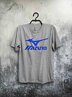 Брендовая футболка MIZUNO, брендовая футболка мизуно, серая, хлопок, КП2121