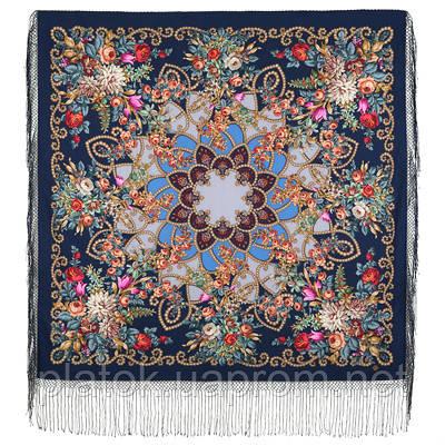 Цыганка Аза 362-14, павлопосадский платок (шаль) из уплотненной шерсти с шелковой вязанной бахромой