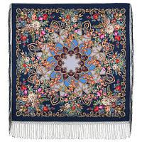 Цыганка Аза 362-14, павлопосадский платок (шаль) из уплотненной шерсти с шелковой вязанной бахромой, фото 1